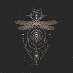 Vector illustration with hand drawn dragonfly and Sacred geometric symbol on black vintage background. Abstract mystic sign.
