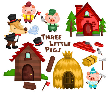 the three little pigs in a vector set ready to be used