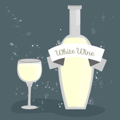 Bottle and glass. White wine