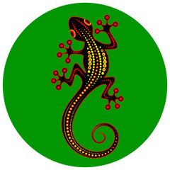 Image of an abstract lizard on a green background