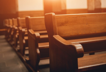 Rows of church benches. Selective focus.