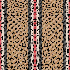 Striped Leopard Fashion Seamless Pattern