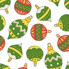 Christmass endless pattern with balls in green color