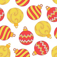 Christmas seamless pattern with red and yellow balls