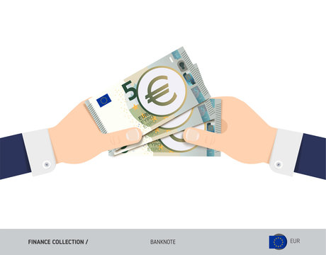 Three 5 Euro Banknotes in the hand. Flat style vector illustration. Finance concept.