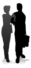 People silhouette of a young man and woman, probably a couple or husband and wife shopping holding retail bags