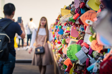 areity of locked key at N Seoul tower on the Namsan mountain that people believe they will have the forever love if write the couple name on it
