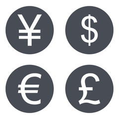 Dollar Euro Yen Pound sign icon. currency symbol set.