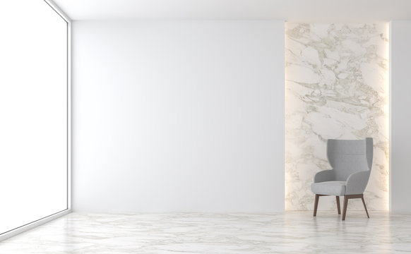 Minimal living room 3d render,There are marble floor,white wall,decorate with hidden light in the wall,Furnished with gray fabric chair,The room has large windows look out to see outside.