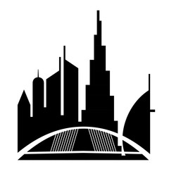 United Arab Emirates  Urban cityscape with Dubai skyscraper buildings silhouette. vector illustration isolated from white background