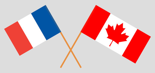France and Canada. The French and Canadian flags. Official colors. Correct proportion. Vector