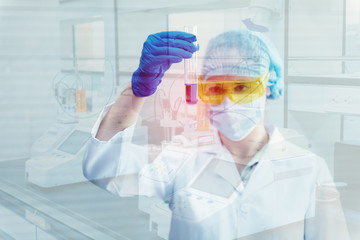 Research scientist in laboratory room., Science, chemistry, technology, biology, Double exposure concept