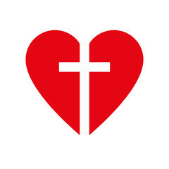 Christian cross icon in the heart inside. Red christian cross sign. Vector illustration.