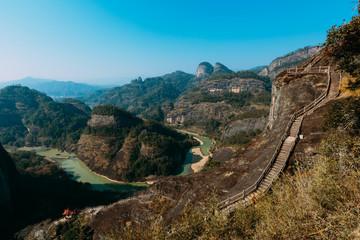 Fujian Wuyishan Tian Youfeng overlooks Jiuqu Xi also known as the nine bend river