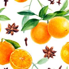 Christmas seamless pattern. Orange, mandarin fruit hand draw watercolor illustration.