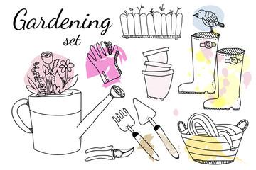 Gardening doodle vector elements