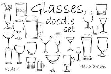 Vector doodle glasses set