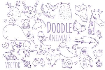 Vector doodle animals set