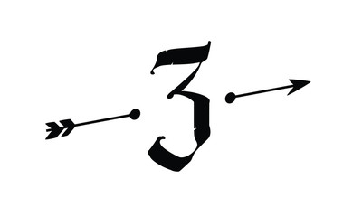The number three with an arrow. Vector. Logo icon. Uneven font. The symbol for a poster, flyer or presentation. Signs for the logo.