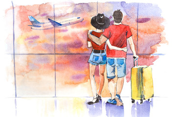 Young couple standing near window in airport before boarding