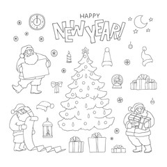 New year set Santa Claus holiday symbols. Vector black sketch line Christmas tree character and gift box with ribbons. Greeting lettering and other isolated decorations for design card and packaging.