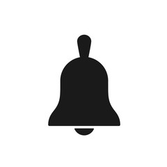 Black isolated icon of bell on white background. Silhouette of bell. Flat design.