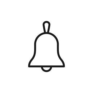 Black isolated outline icon of bell on white background. Line Icon of bell.