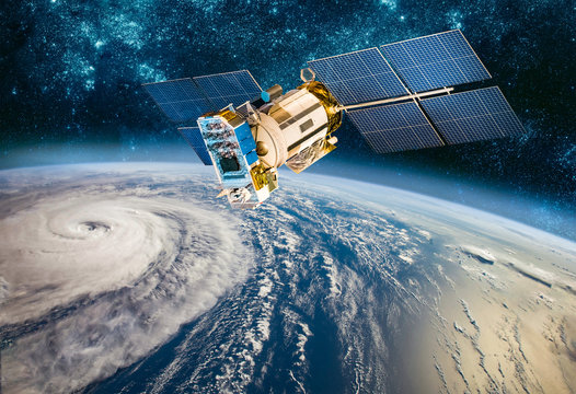 Space satellite monitoring from earth orbit weather from space, hurricane, Typhoon on planet earth.