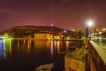 Night autumn Prague. Popular cityscapes after dark.