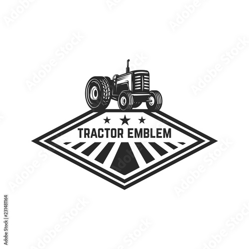 farmers market emblem template with tractor design element for
