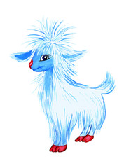 White-blue very fluffy goat on a white background is isolated. Drawn by hand. Illustration, sticker, postcard