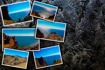 Photo collage against a dark wall. View of the sea coast, mountain ranges. The concept of tourism. With copy space.