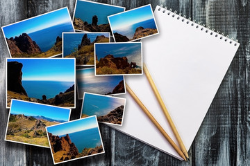 Photo collage on wooden background. View of the sea coast, mountain ranges. The concept of tourism. Place for the inscription in the form of a white notepad.