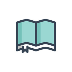open book icon filled outline style