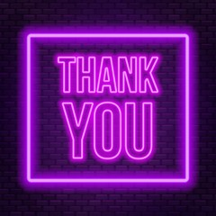 Fototapete - Neon lettering thank you on a dark background.
