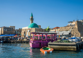 Acre, Israel - October 27, 2018 : Port of acre and Sinan Pasha Mosque