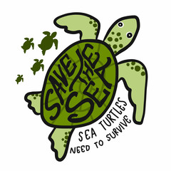 Save the sea , sea turtles need to survive cartoon vector illustration doodle style