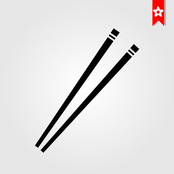 restaurant chopsticks icon in black style isolated on white background. restaurant chopsticks symbol vector illustration, restaurant chopsticks monochrome flat pictogram