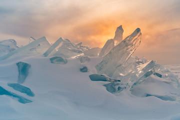 Baikal breaking ice on froze water lake in winter season, Russia natural landscape background