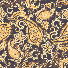 Paisley Floral oriental ethnic Pattern. Seamless Ornamental Indian fabric patterns.