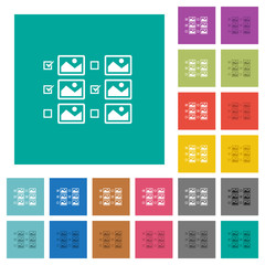 Multiple image selection with checkboxes square flat multi colored icons
