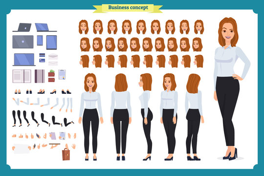 Woman architect in suit and protective helmet. Character creation set.businesswomen. Full length, different views, emotions and gestures.