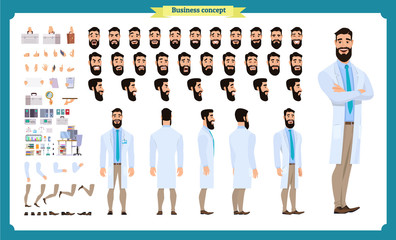 Scientist character creation set. Man working in science laboratory at experiments. Full length, different views, emotions, gestures. design.