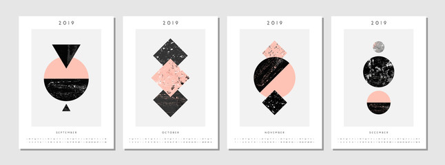2019 Four Month Printable Calendar Template
