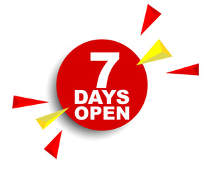 red vector banner seven days open