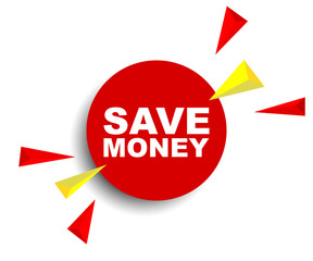 red vector banner save money
