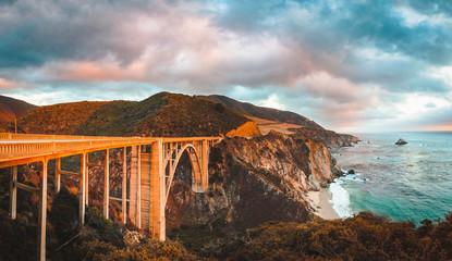 Wall Mural - Bixby Bridge along Highway 1 at sunset, Big Sur, California, USA