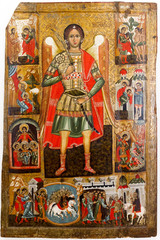 Foto op Aluminium Imagination Bardejov, Slovakia. 9 August 2018. An icon of Saint Michael the Archangel. Around 1550-1580. From the wooden church of Saint Demetrius in Rovne, Slovakia. Currently in a museum in Bardejov.