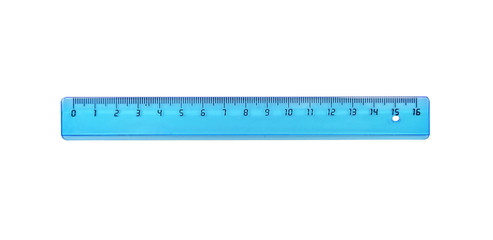 The blue ruler is plastic for measuring centimeters and millimeters. Isolated on white.
