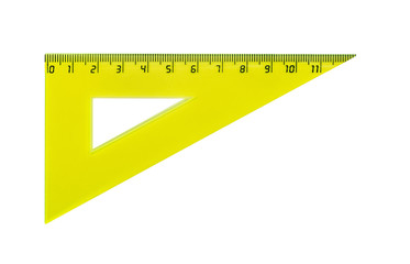 Plastic yellow triangle for measuring centimes, millimeters and angles. Isolated on white.